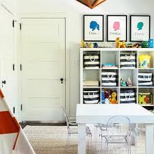 Ikea Kallax Shelving by Playroom With Ikea Kallax Shelving Unit And Burlap Pin Boards