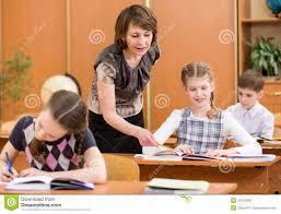 Photography Teacher Schoolchildren Work At Lesson Teacher Controlling Learning