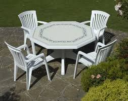 White Resin Patio Tables Interesting White Resin Patio Table On Octagonal Shape Also A Set