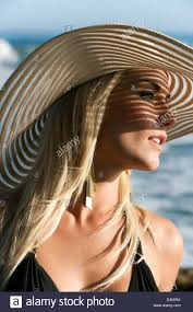 Model Top 100 by Beautiful Famous Model Nikki Du Plessis Wearing A Hat At The Beach