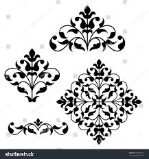 set ornamental floral elements design vintage stock vector