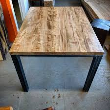 maple dining room furniture custom ambrosia maple smaller dining table on raw steel industrial