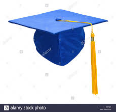 gold tassel graduation blue graduation hat with gold tassel isolated on white background