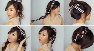 easy party hairstyles for medium length hair 6 easy ribbon hairstyles youtube