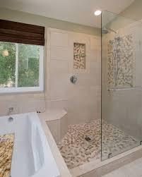 White Pebble Tiles Bathroom - contemporary master bathroom with limestone tile floors by remodel