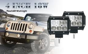 Jeep Led Lights Amazon Com Lightfox 2pcs 4inch 18w Flood Cree Led Light Bar