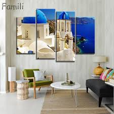 4 panel modern painting home decorative art picture greece