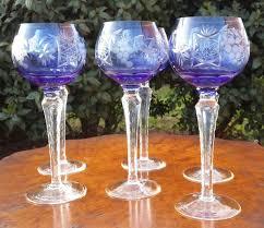bicchieri boemia 6 bicchieri a calice in cristallo intagliato e inciso su fondo