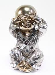 feng shui bronze see no evil buddha monk electroplated kasaya home