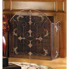 flat fireplace screen contemporary arched rustic 3 panel