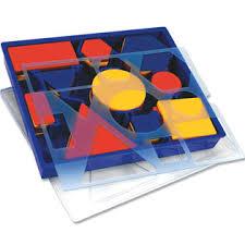 attribute block set desk set in plastic storage tray learning