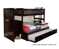 Bunk Bed With Stairs And Trundle Espresso 2914 Full Stair Stepper Bunk Bed Bed Frames Discovery