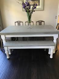 Farm Tables With Benches Farmhouse Table With Light Grey Base And Distressed Dark Grey Top