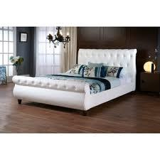 Slay Bed Frames Ashenhurst White Modern Sleigh Bed With Upholstered Headboard