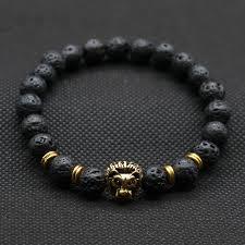 black beaded charm bracelet images Men 39 s lava stone bracelet with lionhead accent bead jewelry we luv jpg