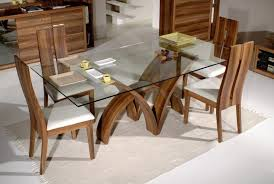 Dining Room Sets White Glass Top Dining Tables With Wood Base Glass Chrome Polishes