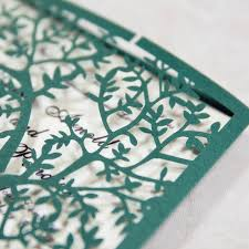 fresh green tree laser cut wedding invitations with ivory band