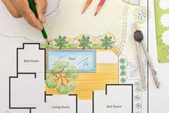 Backyard Plan Landscape Architect Design Backyard Plan For Villa Stock Photo