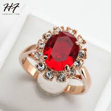 crystal fashion rings images Red stone ring bague rose gold color crystal fashion anniversary jpg