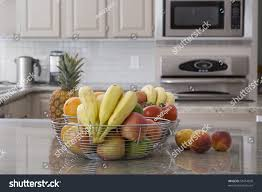 modern fruit bowl bowl assorted fruit modern grey kitchen stock photo 55014820