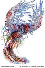 colorful flying phoenix tattoo design