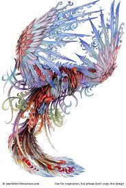 colorful flying phoenix tattoo design
