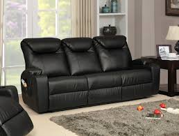 Black Leather Reclining Sofa Leather Recliner Sofa Ebay