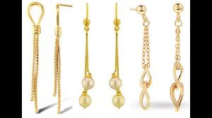 gold drop earrings gold drop earrings with chains beautiful danglers designs