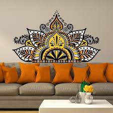 Wall Decals Vinyl Sticker Mandala by Half Mandala Wall Decal Yoga Studio Decor Full Color