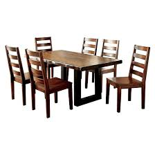 7 piece rustic two tone dining set tobacco oak furniture of