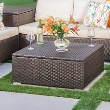Patio Furniture Costa Mesa by Costa Mesa Outdoor Multibrown Wicker Coffee Table With Storage Ebay