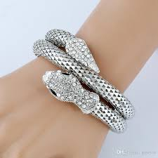 crystal snake bracelet images Gold silver stretch snake bracelet armlet upper arm cuff for women jpg