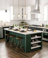 green kitchen cabinets with white island 25 contrasting kitchen island ideas for a statement digsdigs