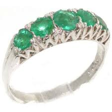 eternity ring finger solid sterling silver emerald vintage style