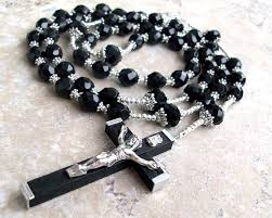 mens rosary mens large black rosary necklace rosary