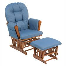 glider rocker with ottoman storkcraft bowback glider and ottoman set cognac denim hayneedle