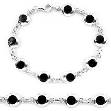 bracelet jewelry tennis images 925 sterling silver black onyx enamel tennis bracelet jewelry JPG
