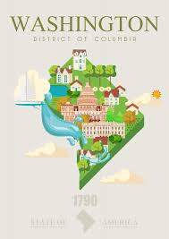 District of columbia vector poster usa travel illustration