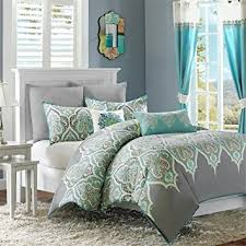 amazon com madison park nisha cotton duvet cover set teal