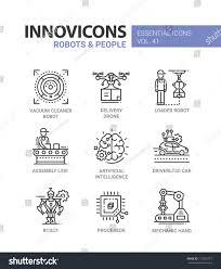 robots people modern vector line design stock vector 713526757