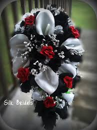 Black And Red Vase Bridal Bouquet Silk Wedding Flowers Black Red White Silver Calla