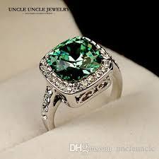 finger ring design 2018 white gold color royal design austrian square green