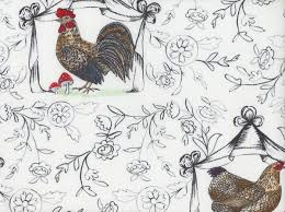 blend french hen good day toile cotton fabric white