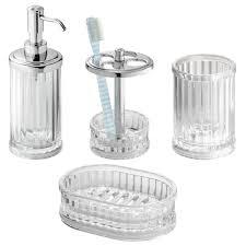 White Bathroom Accessories Set amazon com interdesign alston bath accessory set soap dispenser