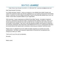 cover letter for a teacher position sample cover letter for