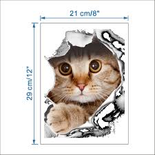3d removable kitten broken wall stickers toilet wall decal newchic notice please allow 1 3cm error due to manual measurement and make sure you do not mind before ordering the colors may have different as the difference