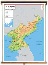 Korea Map Asia by North Korea Physical Educational Wall Map From Academia Maps