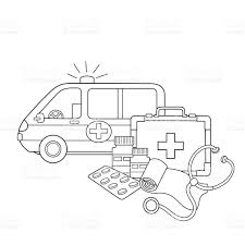 coloring page outline of medical instruments medical logo stock