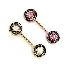 nipple rings images Bodyj4you nipple piercing bar tribal flower created opal body jpg