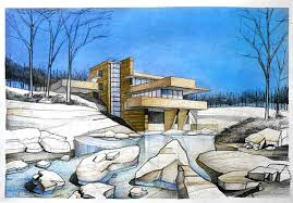 frank lloyd wright u0027s falling water architectural drawing arch